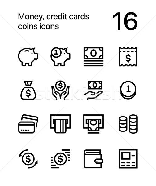 Foto stock: Dinheiro · cartões · de · crédito · moedas · ícones · teia · móvel