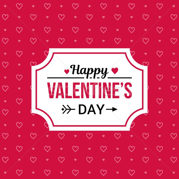 Happy Valentines day card with pink heart vector on red background pattern Stock photo © karetniy