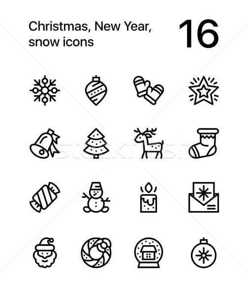 веселый Рождества с Новым годом иконки веб мобильных Сток-фото © karetniy