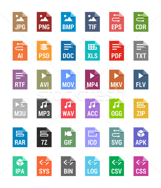 Flat file types icons. Archive, vector, audio, image, system, document formats Stock photo © karetniy