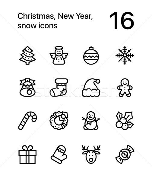 Joyeux Noël happy new year icônes web mobiles Photo stock © karetniy