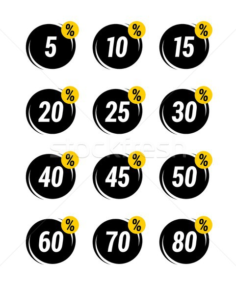 Special offer sale tag discount symbol retail sticker sign price set black and yellow  Stock photo © karetniy