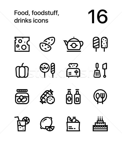 Food, foodstuff, drinks icons for web and mobile design pack 2 Stock photo © karetniy