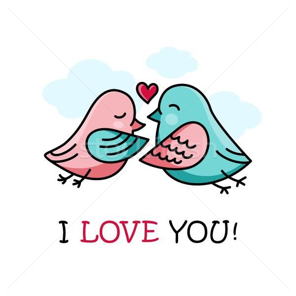 любви карт пару птиц сердце Сток-фото © karetniy