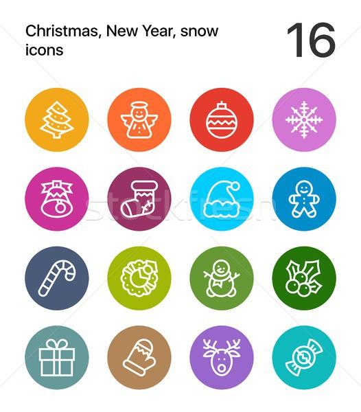 Színes vidám karácsony boldog új évet ikonok háló Stock fotó © karetniy
