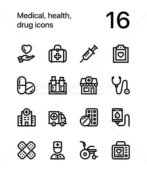 медицинской здоровья наркотиков иконки веб мобильных Сток-фото © karetniy