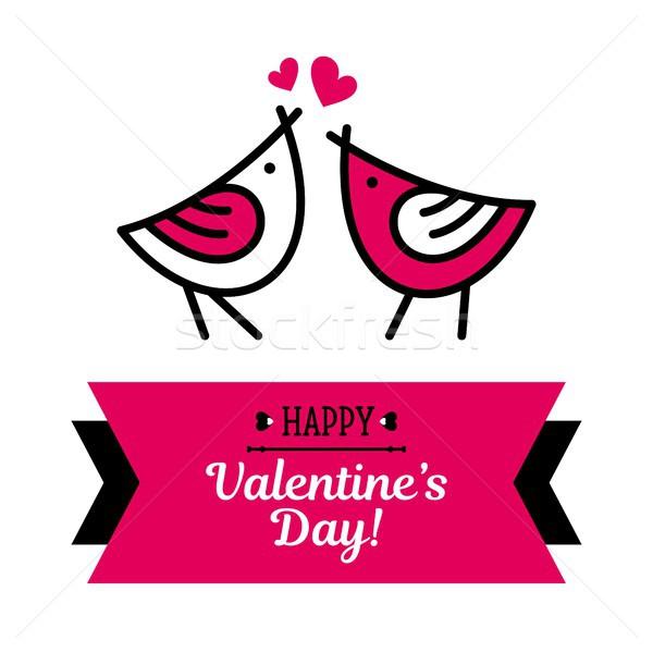 Boldog valentin nap kártya madarak rózsaszín szív Stock fotó © karetniy