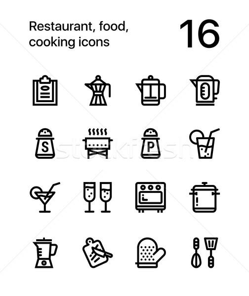 Nourriture de restaurant cuisson icônes web mobiles design Photo stock © karetniy