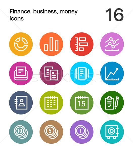 Coloré Finance affaires argent icônes web Photo stock © karetniy