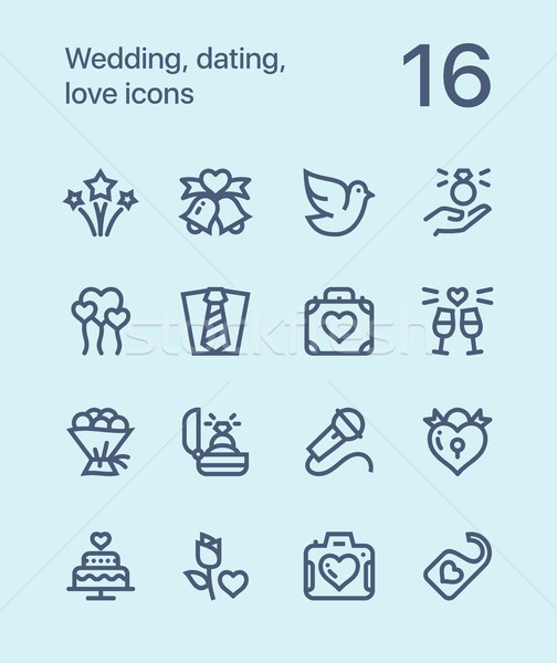 Outline Wedding, dating, love icons for web and mobile design pack 3 Stock photo © karetniy