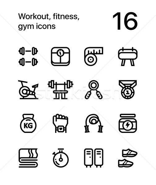Entraînement fitness gymnase icônes web mobiles Photo stock © karetniy