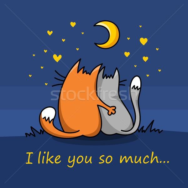 Szeretet valentin nap kártya pár macskák vektor Stock fotó © karetniy