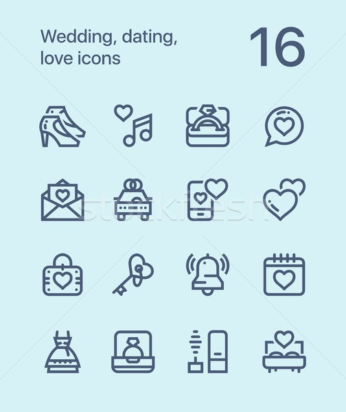 Outline Wedding, dating, love icons for web and mobile design pack 2 Stock photo © karetniy