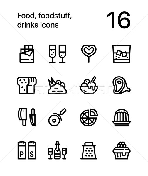 Food, foodstuff, drinks icons for web and mobile design pack 3 Stock photo © karetniy