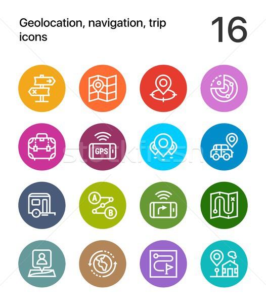красочный навигация поездку иконки веб мобильных Сток-фото © karetniy