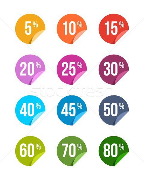 Szett vásár el matricák színes jelvények Stock fotó © karetniy