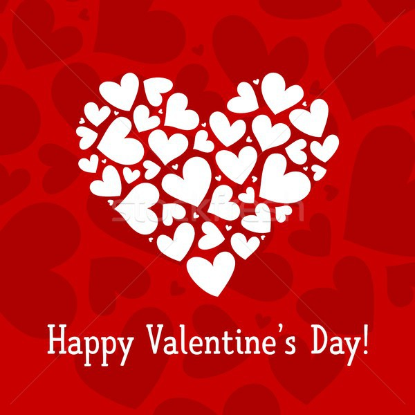 Happy Valentines day card with red and white heart vector background pattern poster Stock photo © karetniy