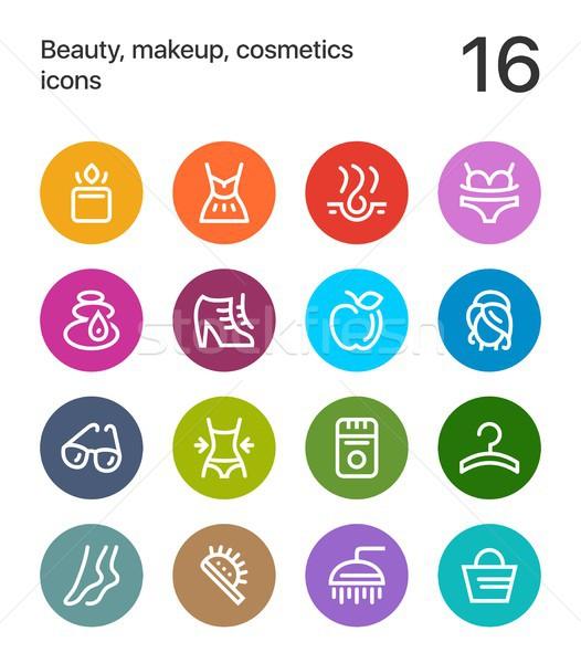 Zdjęcia stock: Kolorowy · piękna · kosmetyki · makijaż · ikona · internetowych
