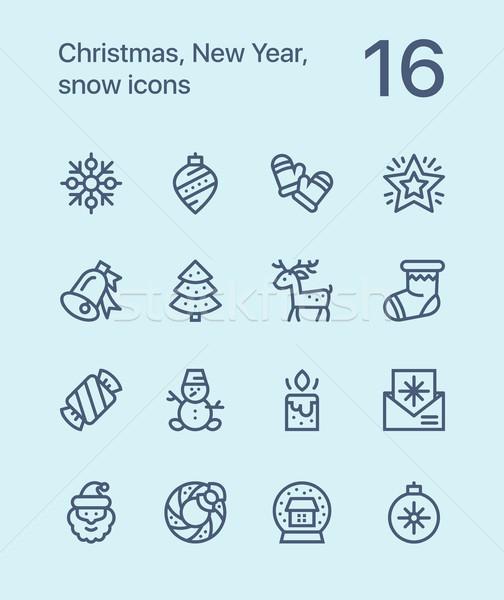 веселый Рождества с Новым годом иконки веб Сток-фото © karetniy