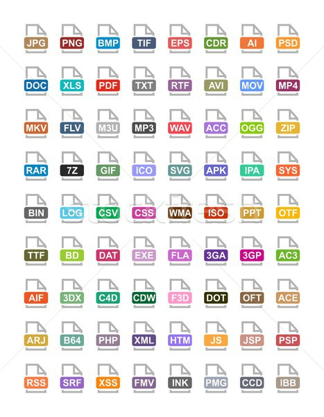 File extension flat vector icons. Archive, vector, audio, image, system, document formats Stock photo © karetniy