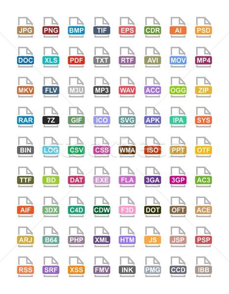 Bestand vector iconen archief audio afbeelding Stockfoto © karetniy