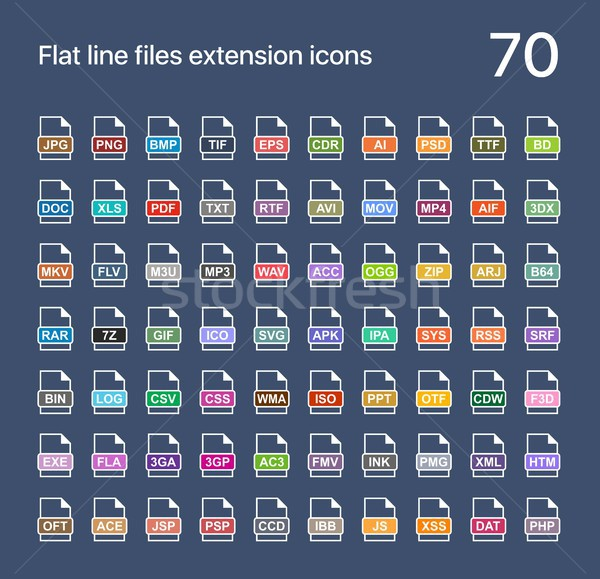 File extension flat vector icons. Sound, graphic, archive, picture, document, internet and system ex Stock photo © karetniy