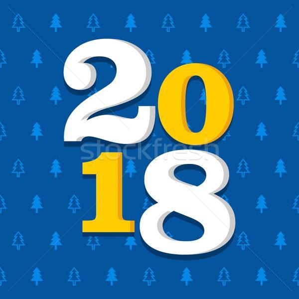 új év ikon gyűjtemény minta végtelenített vektor kék Stock fotó © karetniy