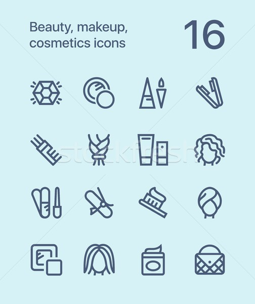 Beauté cosmétiques maquillage icônes web Photo stock © karetniy
