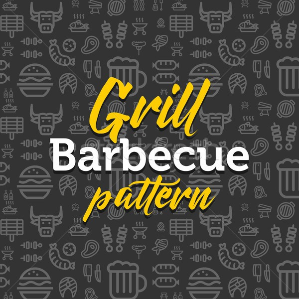 Barbecue pattern illustration with vector outline simple flat icons on texture background Stock photo © karetniy