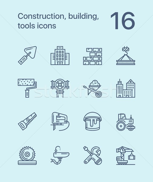 Simple Construction, building, tools seamless vector outline icons for web and mobile design pack 1 Stock photo © karetniy