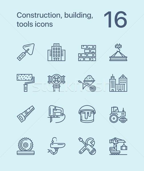 Stock fotó: Egyszerű · építkezés · épület · szerszámok · végtelenített · vektor