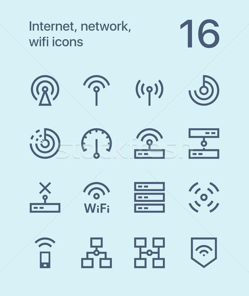Schets internet netwerk wifi iconen web Stockfoto © karetniy