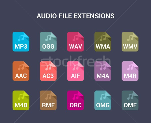 Audio file extensions. Flat colored vector icons Stock photo © karetniy