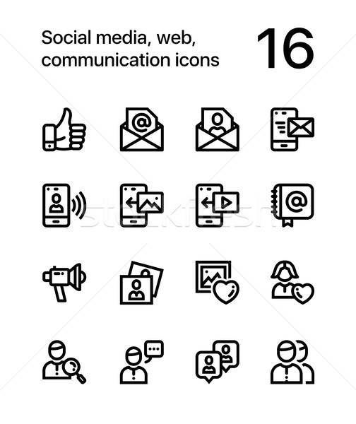 Social media, web, communication icons for web and mobile design pack 2 Stock photo © karetniy