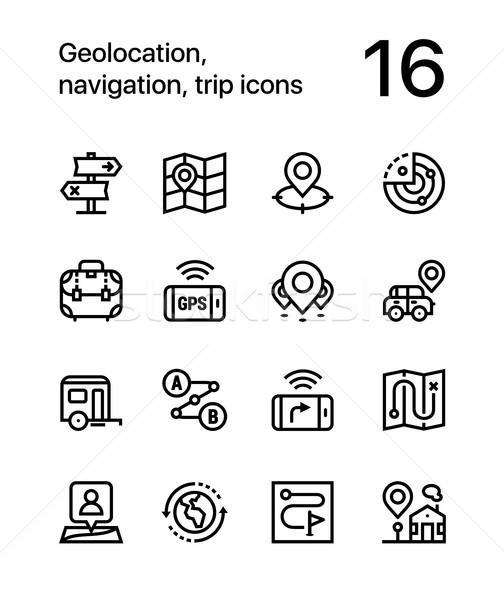 навигация поездку иконки веб мобильных дизайна Сток-фото © karetniy