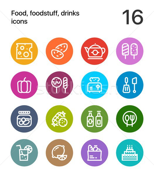 Colorful Food, foodstuff, drinks icons for web and mobile design pack 2 Stock photo © karetniy