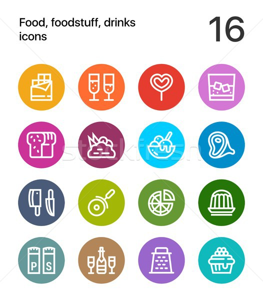 Colorful Food, foodstuff, drinks icons for web and mobile design pack 3 Stock photo © karetniy