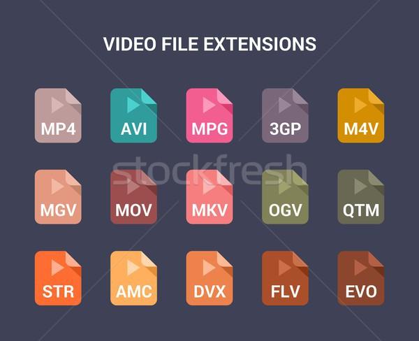 видео файла вектора иконки Сток-фото © karetniy