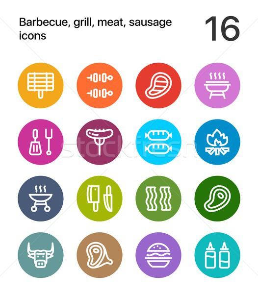 красочный Мангал гриль мяса колбаса иконки веб Сток-фото © karetniy