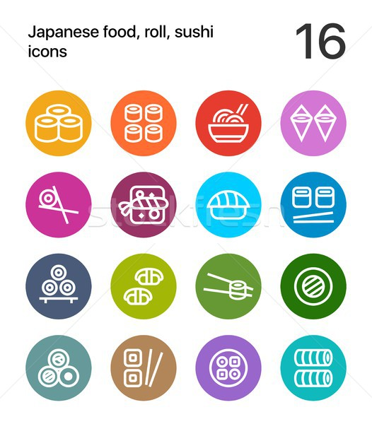 Colorful Japanese food, sushi icons for web and app Stock photo © karetniy