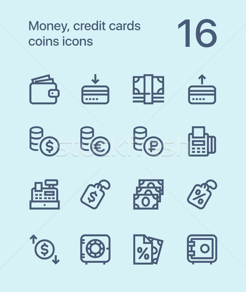 Skicc pénz hitelkártyák érmék ikonok háló Stock fotó © karetniy