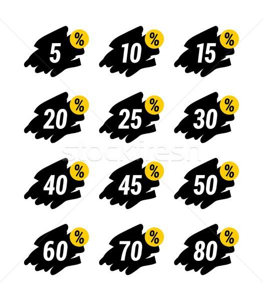 Különleges fekete citromsárga ajánlat vásár címke Stock fotó © karetniy