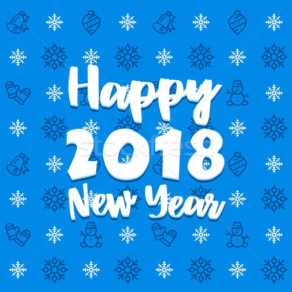 New Year blue and white icon set outline pattern. New Year 2018 flat vector icons background Stock photo © karetniy