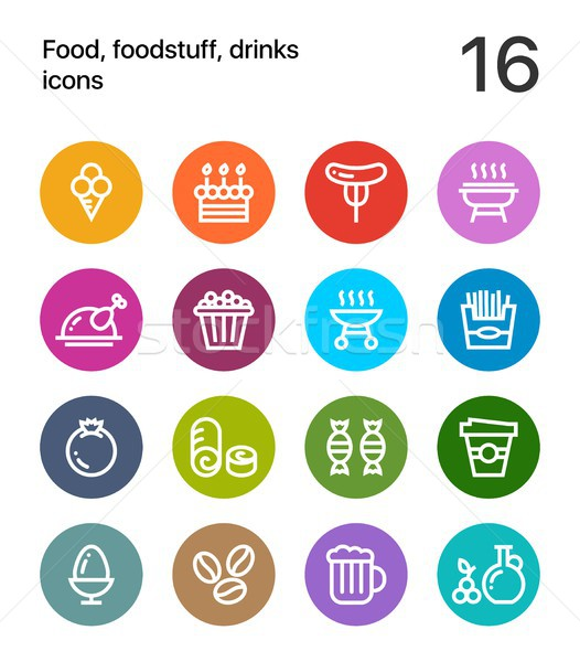 Colorful Food, foodstuff, drinks icons for web and mobile design pack 4 Stock photo © karetniy
