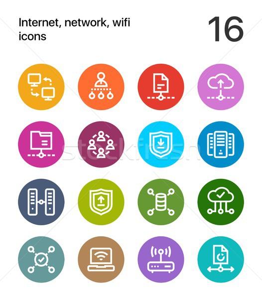 красочный интернет сеть wi-fi иконки веб Сток-фото © karetniy
