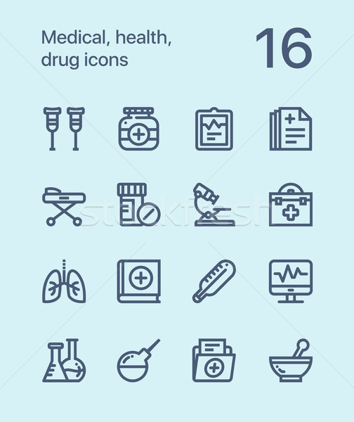 Outline Medical, health, drug icons for web and mobile design pack 2 Stock photo © karetniy