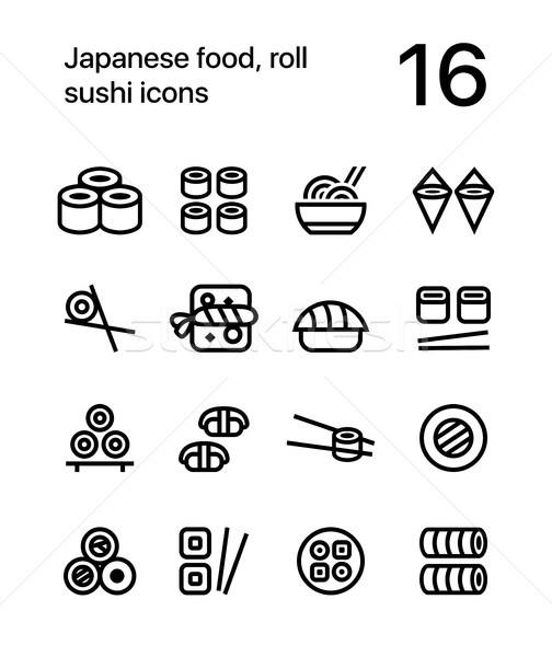 японская еда суши иконки веб мобильных дизайна Сток-фото © karetniy