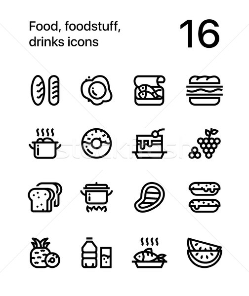 Food, foodstuff, drinks icons for web and mobile design pack 1 Stock photo © karetniy