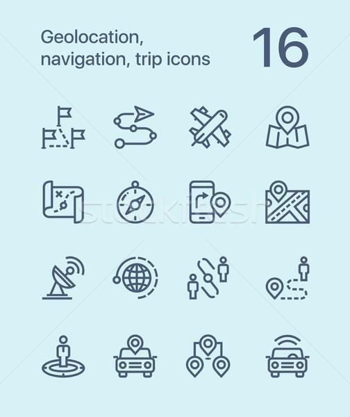 навигация поездку иконки веб мобильных Сток-фото © karetniy