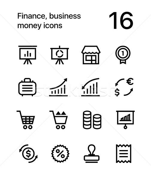 Финансы бизнеса деньги иконки веб Pack Сток-фото © karetniy